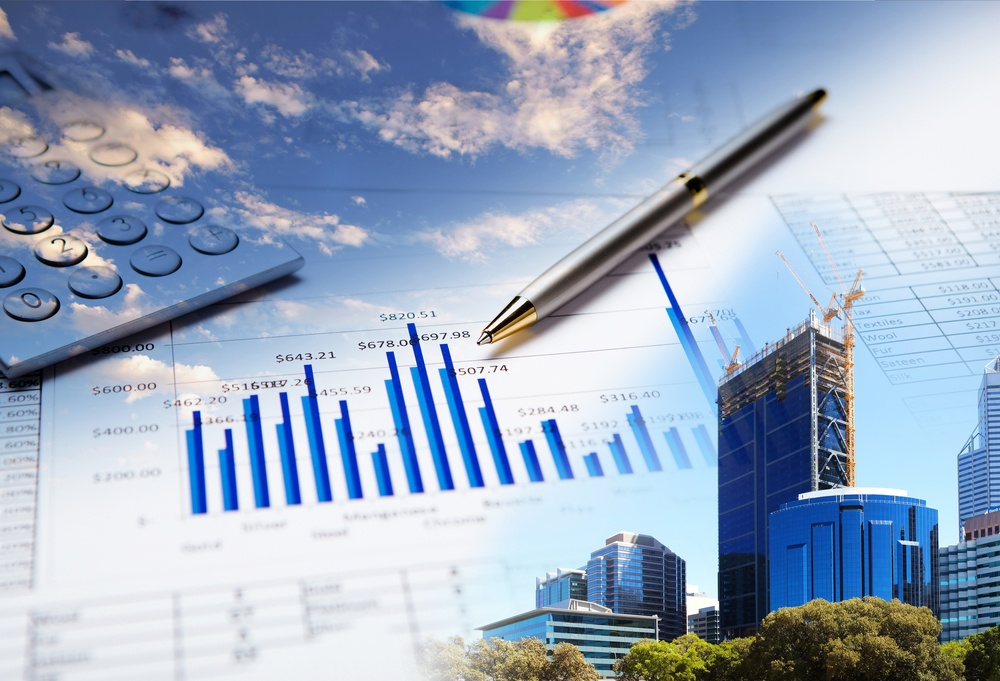 Collage of various business elements. Dollar, stocks, sky, building.jpeg