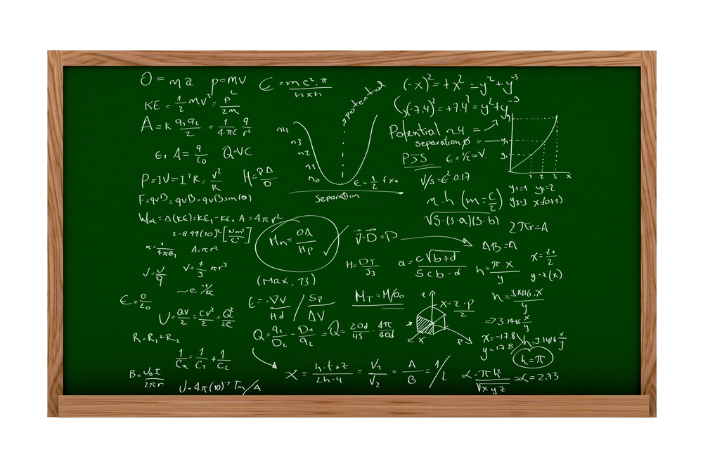 Maths, physics or science chalk board - isolated over a white background.jpeg