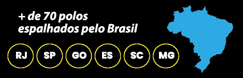 + de 70 polos  espalhados pelo Brasil - RJ, SP, GO, ES, SC e MG